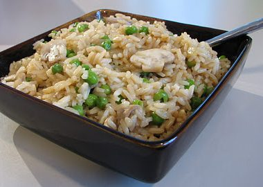 Brown Rice with Mushrooms and Peas