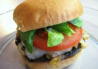 Portobello and Havarti Burgers with Caramelized Onions