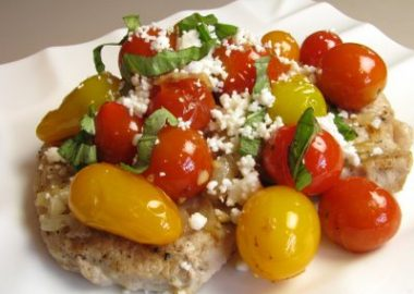 Pork Chops with Tomatoes, Caramelized Onions and Feta Cheese