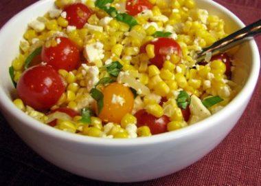 Corn, Tomato, Feta and Basil Salad