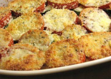 Tomato, Zucchini, Squash and Caramelized Onion Gratin