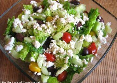 Greek Salad with a Lemon Garlic Dressing