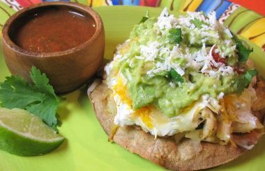 Chicken, Roasted Poblano and Bell Pepper Tostadas