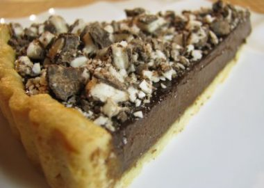 Chocolate Tart with Mint Krispy Topping