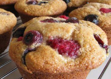 Banana, Blueberry and Raspberry Muffins