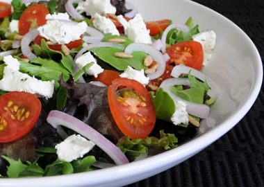 Mixed Greens with Herb Goat Cheese and Wildflower Honey Vinaigrette