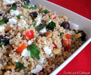 Couscous with Kalamata Olives, Pine Nuts, and Feta Cheese