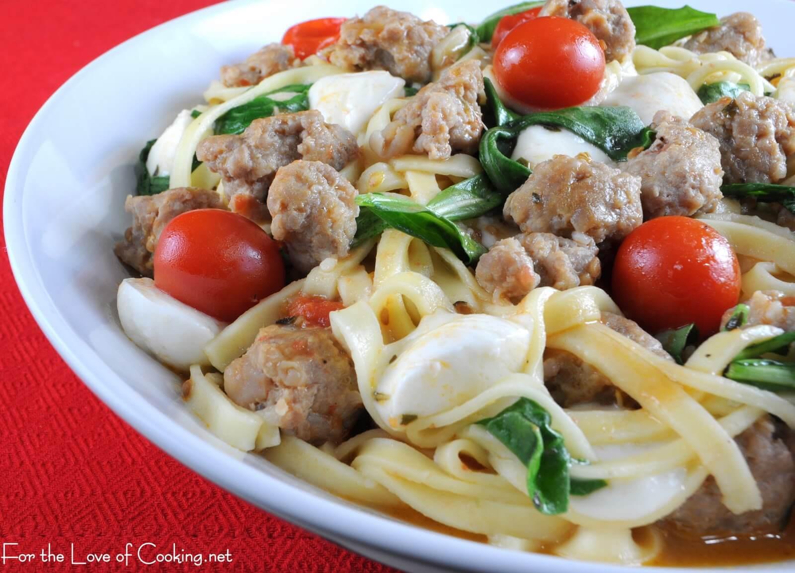 Linguine with Turkey Italian Sausage, Tomatoes, Arugula, and Ciliengini
