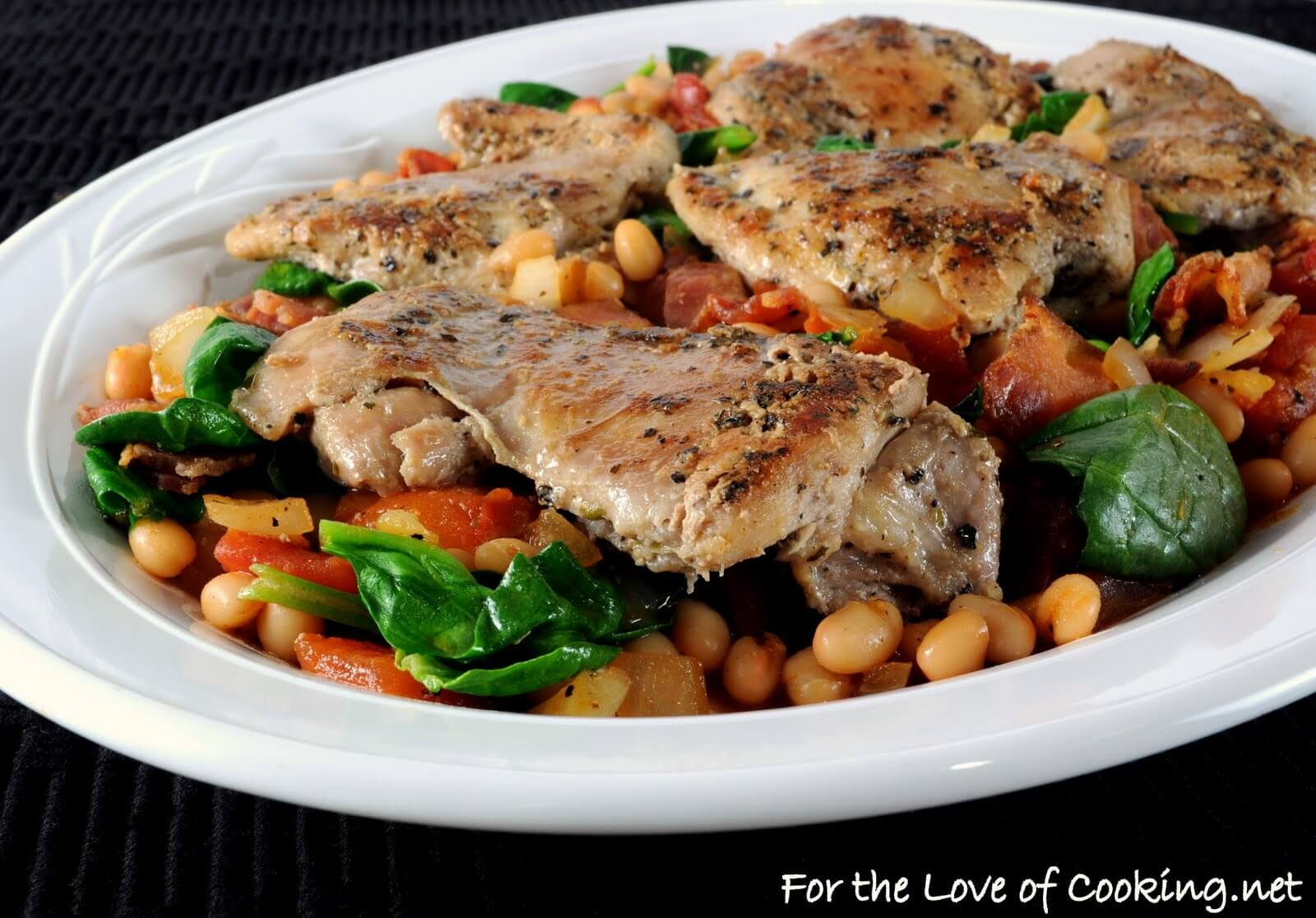 Tuscan Chicken with White Beans and Spinach