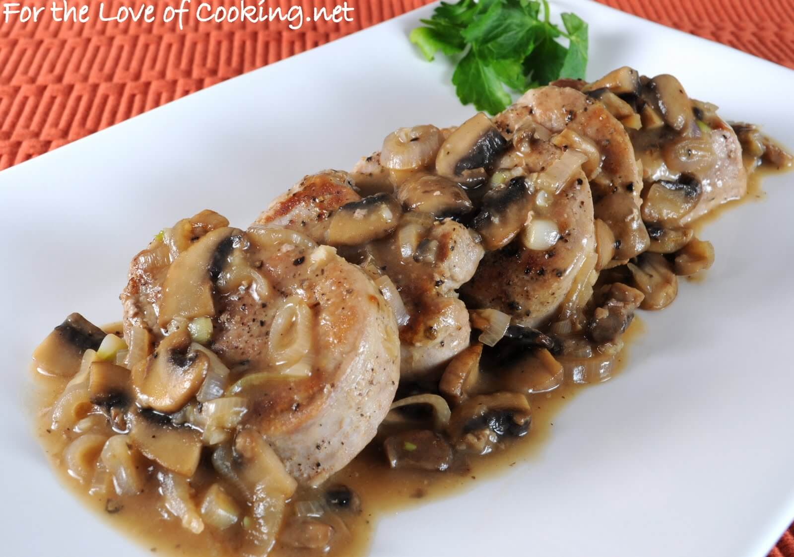 Pork Medallions Smothered in a Mushroom and Shallot Gravy