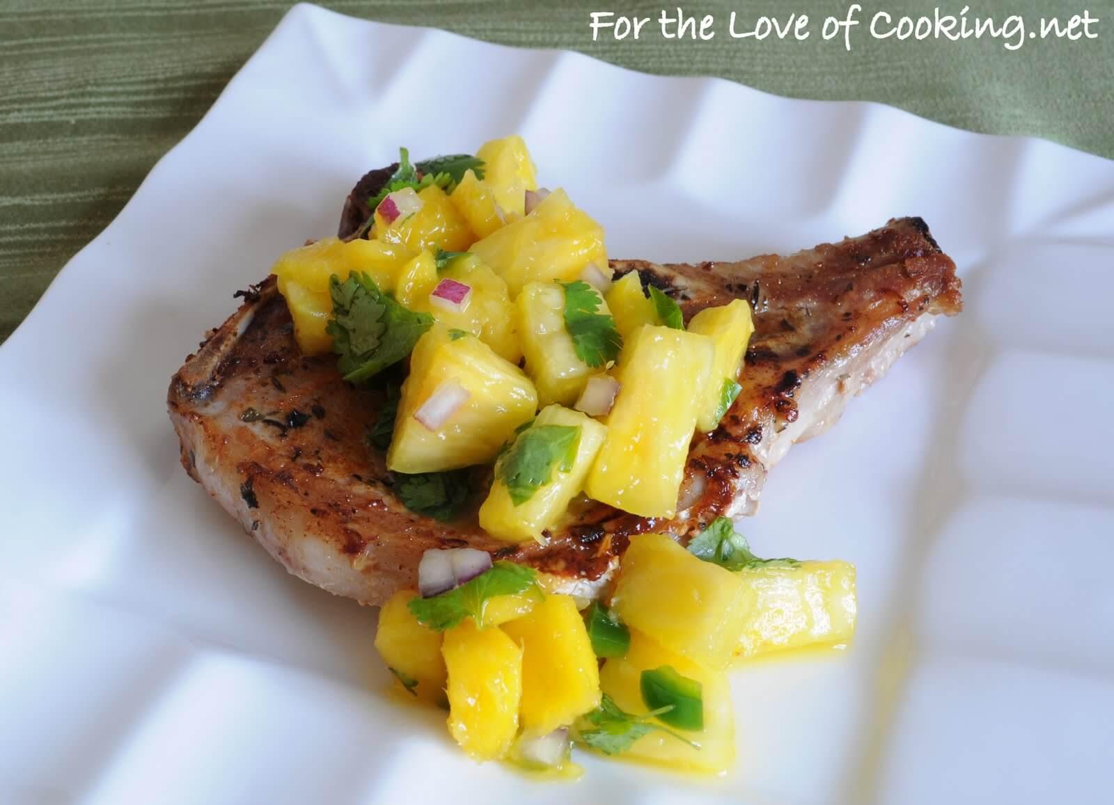 Blackened Pork Chops with a Pineapple - Mango Salsa