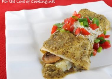 Spinach, Mushroom, and Poblano Enchiladas in a Tomatillo Sauce