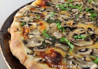 Spinach, Garlic, Mushroom, and Fresh Basil Pizza