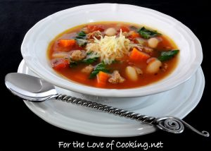 Vegetable Soup with Turkey Italian Sausage, White Beans, and Spinach