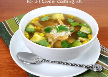 Chicken and Grilled Corn Tortilla Soup