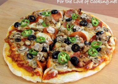 Turkey Italian Sausage, Pepperoni, Mushroom, Olive, and Jalapeno Pizza
