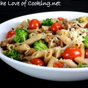 Whole Wheat Penne with Turkey Italian Sausage, Broccoli, Tomatoes, and Parmesan