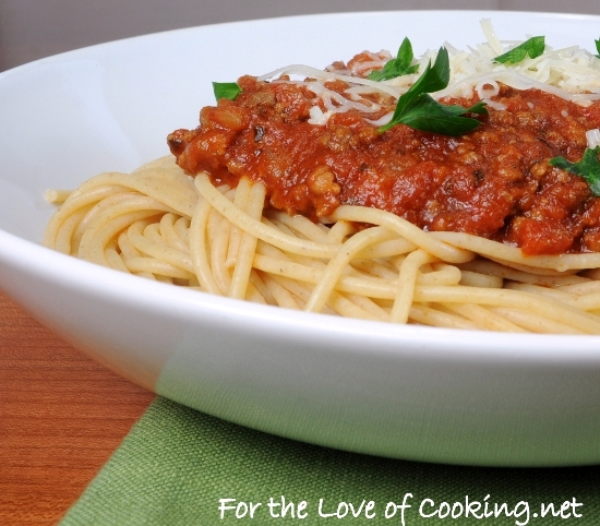 Whole Wheat Spaghetti with a Slow Simmered Meat Sauce