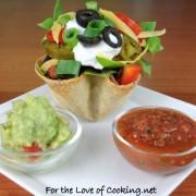 Mini Shredded Beef Taco Salads in Crispy Corn Tortilla Cups