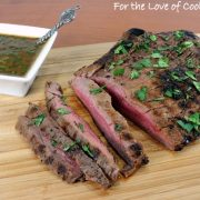 Pan Grilled Flank Steak with Soy-Mustard Sauce