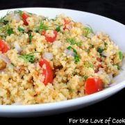Roasted Garlic Couscous with Tomatoes, Dill, Onion, and Spinach