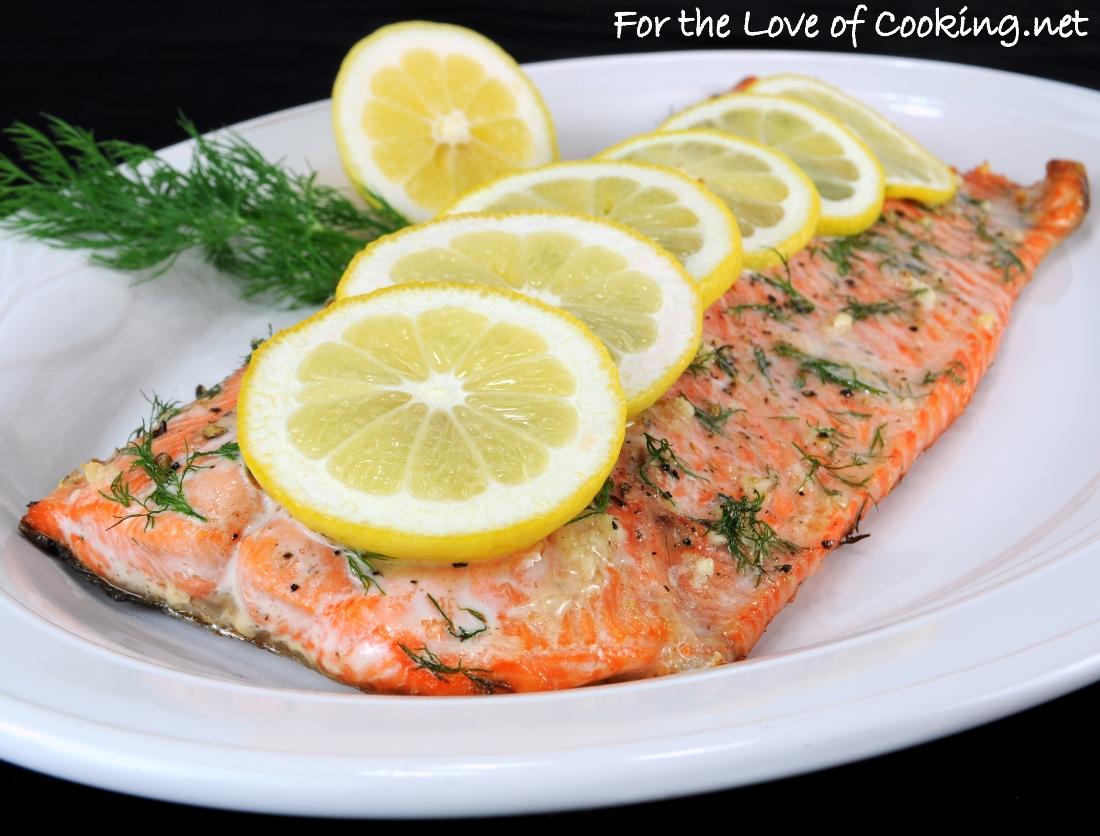 Salmon with Garlic, Lemon, and Dill