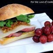 Roast Beef, Caramelized Onion, Havarti, and Arugula Sandwich on a Focaccia Roll