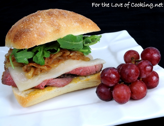 Roast Beef, Caramelized Onion, Havarti, and Arugula Sandwich on a Focaccia Roll