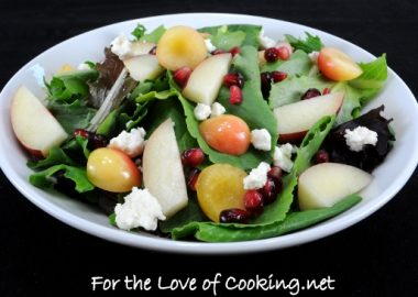 Mixed Greens with Rainier Cherries, Nectarine, Feta Cheese and a White Balsamic Vinaigrette