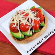 Sautéed Tomato, Avocado, and Parmesan Open Faced Sandwich