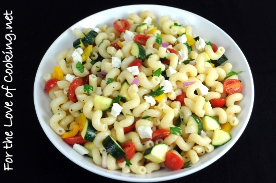 Pasta Salad With Tomatoes Zucchini And Feta For The Love Of Cooking