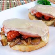 Ham, Swiss, Caramelized Onion, and Sautéed Tomato Open Faced Sandwich