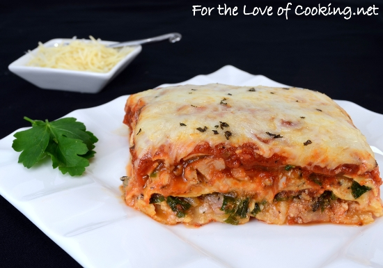 Chicken Basil Sausage, Garlicky Kale, and Caramelized Onion Lasagna