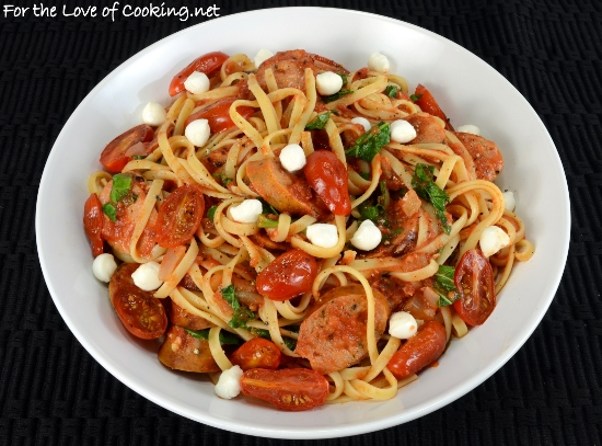 Linguine In Tomato Sauce With Chicken Sausage Blistered Tomatoes Kale And Mozzarella Pearls