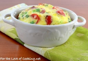 Mini Baked Frittata with Bacon, Tomato, Sharp Cheddar, and Green Onion