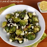 Roasted Brussels Sprouts with Garlic, Lemon, and Feta