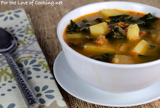 Portuguese Caldo Verde - Soup with Potatoes, Kale, and Chorizo