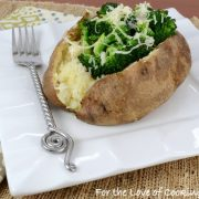 Spicy Broccoli and Sharp Cheddar Topped Baked Potato