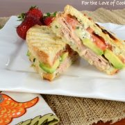 Turkey, Extra Sharp Cheddar, Tomato, and Avocado Panini with Basil Mayonnaise