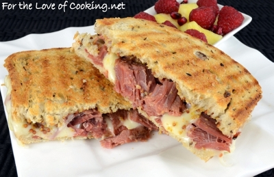 Corned Beef and Swiss Panini on Rye