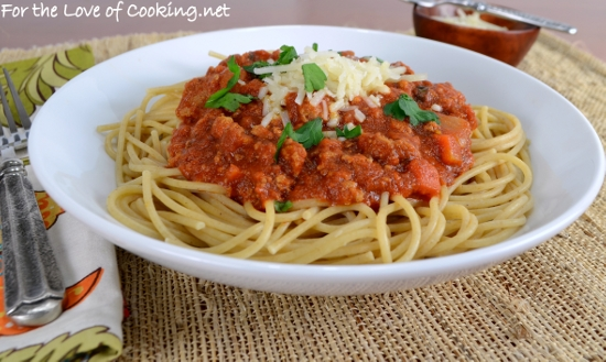 Slow Simmered Meat Sauce with Ground Turkey and Italian Sausage