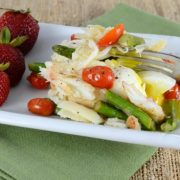 Steamed Egg Topped with Sautéed Asparagus, Tomatoes, and Fresh Crab