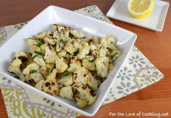 Roasted Cauliflower with Fresh Herbs, Parmesan, and Lemon