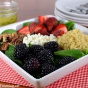 Berry Quinoa Spinach Salad with White Balsamic Basil Vinaigrette