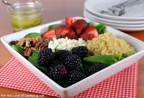 Berry Quinoa Spinach Salad with White Balsamic Basil Vinaigrette
