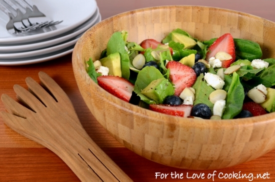 Mixed Greens with Berries, Feta, Avocado, and Almonds