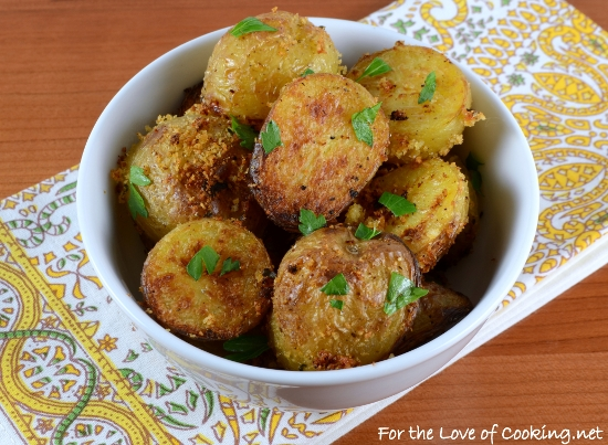 Parmesan and Panko Roasted Baby Potatoes