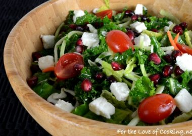Kale Salad with Tomato, Pomegranate Seeds, and Feta