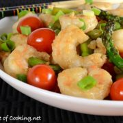 Shrimp Stir Fry with Asparagus and Grape Tomatoes