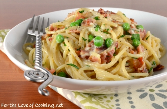 Pasta Carbonara With Bacon And Peas For The Love Of Cooking